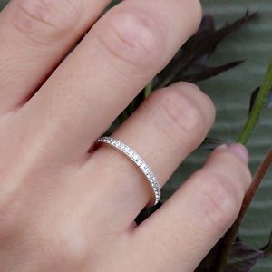 Jewelry - Solid 925 Silver Wedding Band Stackable Pave Ring